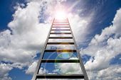 stock photo of step-up  - Ladder into sky - JPG