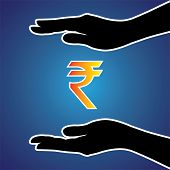 stock photo of safeguard  - Vector illustration of protecting or safeguarding indian rupee - JPG