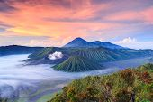 pic of mountain-ash  - Bromo volcano at sunriseTengger Semeru national park East Java Indonesia - JPG