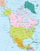 North America -highly detailed map.All elements are separated in editable layers clearly labeled. Ve