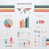 pic of line graph  - Infographics design elements template - JPG