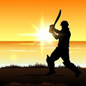 picture of cricket  - Cricket batsman in playing action on colorful waves background - JPG