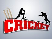 stock photo of cricket  - Silhouette of two batsman in playing action with text cricket - JPG