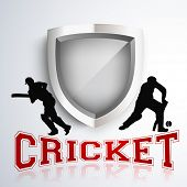 stock photo of cricket shots  - Silhouette of two batsman in playing action on winning trophy background with text cricket - JPG