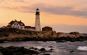 stock photo of lighthouse  - Portland Head Lighthouse is the oldest beacon in Maine - JPG