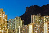stock photo of overpopulation  - Kowloon night - JPG
