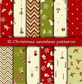 stock photo of mistletoe  - Set of 12 Christmas seamless patterns - JPG