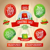 pic of year end sale  - New year and Christmas sale designs and stickers collection in retro style - JPG