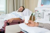 stock photo of dialysis  - Male cancer patient - JPG