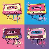 picture of magnetic tape  - Retro Pink Audio cassette tape - JPG