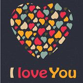 Love Heart Valentines day Greeting card trendy colors Romantic relationship concept in vector