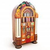 stock photo of jukebox  - Retro vintage jukebox on a white background art and illustration - JPG