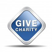 stock photo of generous  - Give charity button donate raise money to help donate gifts fundraising give a generous donation or help with the fundraise - JPG