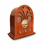 stock photo of transistor  - Retro vintage wood radio on a white background - JPG