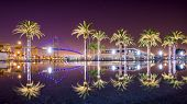 stock photo of thomas  - Vincent Thomas Bridge and Palm Tree reflections in San Pedro - JPG