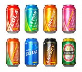 stock photo of cold drink  - Set of color metal drink cans with cola lemon orange raspberry grapefruit soda energy drink and beer isolated on white background - JPG