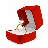 stock photo of jewel-case  - Gold Ring with Red Box  - JPG