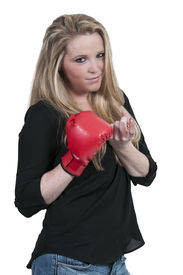 pic of heartbreaking  - Beautiful woman in wearing a boxing glove in front of a broken heart  - JPG
