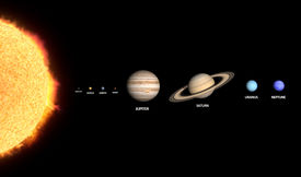 image of uranus  - A rendered comparison of the Sun and the Planets Mercury Venus Earth Mars Jupiter Saturn Uranus and Neptune with captions - JPG