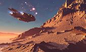 image of spaceships  - Spaceship on the background of the planet - JPG