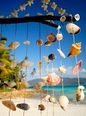 stock photo of chimes  - Sea shell chime overlooking a tropical lagoon - JPG