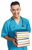 stock photo of male nurses  - a young serious male medical student  - JPG