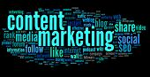 stock photo of recommendation  - Content marketing concept in word tag cloud on black background - JPG