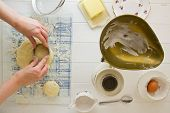 picture of devonshire  - Cutting out English scones - JPG