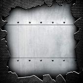 stock photo of ironworker  - cracked metal background  - JPG