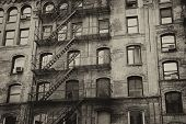 stock photo of brownstone  - Vintage photo of old building with outdoor staircase (New York City USA). Horizontally.