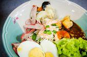 image of egg noodles  - Pork shrimp and egg noodles Thai noodle with pork shrimp and egg - JPG