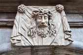 stock photo of inri  - Face sculpture of Jesus  - JPG