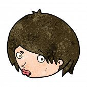 stock photo of raised-eyebrow  - cartoon female face with raised eyebrow - JPG
