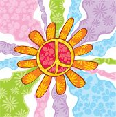 picture of peace-sign  - abstract cute hippie peace symbol vector illustration - JPG