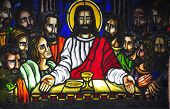 stock photo of eucharist  - A stained glass of The Last Supper inside a Catholic church in the Philippines - JPG