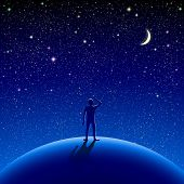 image of starry sky  - A man stood watching the starry sky - JPG