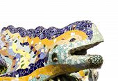 pic of gaudi barcelona  - Sculpture of a dragon of Antoni Gaudi mosaic in park guell of Barcelona