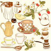 stock photo of teapot  - Vector set of hand drawn elements cups - JPG