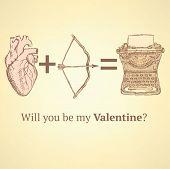 pic of longbow  - Sketch cute Valentine card in vintage style - JPG