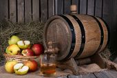 pic of cider apples  - Still life with tasty apple cider in barrel and fresh apples - JPG