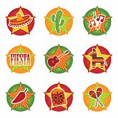 stock photo of mexican fiesta  - mexican star icons with motifs isolated on white - JPG