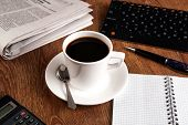 picture of peppy  - business still life with cup of black coffee on desktop - JPG
