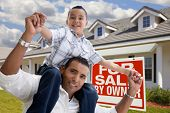 Hispanic Father And Son With For Sale By Owner Sign poster