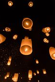 stock photo of cho-cho  - Floating lanterns ceremony or Yeepeng ceremony traditional Lanna Buddhist ceremony in Chiang Mai Thailand