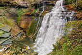stock photo of cataracts  - Brandywine Falls a beautiful large waterfall in Ohio