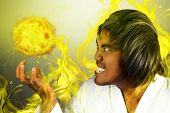 pic of manga  - Asian man as a manga with a fireball - JPG
