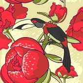 pic of toucan  - vector background Seamless floral background with peonies bird toucan - JPG