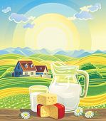 picture of milk products  - Sunny summer landscape with a still life of dairy products - JPG