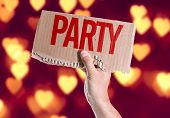 picture of bachelor party  - Party card with heart bokeh background - JPG