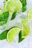 pic of peppermint  - lime slices with ice and peppermint leaves - JPG